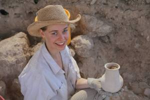 Student discovers ancient vessel at Tel Azekah.